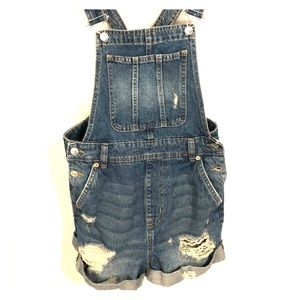 H&M (Divided) Denim Bib Overall Shorts - Size 4